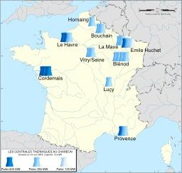 Centrales thermiques au charbon en France. Source : http://data.abuledu.org/URI/51ce184c-centrales-thermiques-au-charbon-en-france