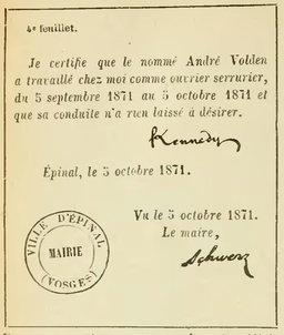 Certificat signé par un maire en 1871. Source : http://data.abuledu.org/URI/524d7c92-certificat-signe-par-un-maire-en-1871