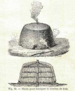 Charbonnière artisanale. Source : http://data.abuledu.org/URI/591aabd1-charbonniere-artisanale