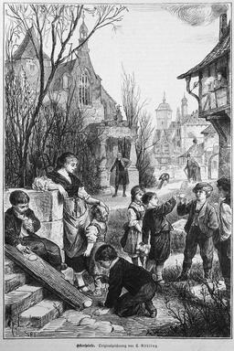 Chasse aux oeufs en 1880. Source : http://data.abuledu.org/URI/514d9067-chasse-aux-oeufs-en-1880