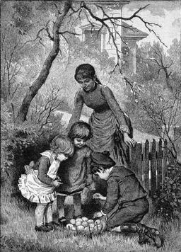 Chasse aux oeufs en 1889. Source : http://data.abuledu.org/URI/514da65e-chasse-aux-oeufs-en-1889