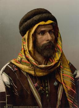 Chef Bédouin à Palmyre en 1890. Source : http://data.abuledu.org/URI/59465a3a-chef-bedouin-a-palmyre-en-1890