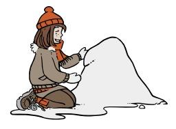 Chloé commence son bonhomme de neige. Source : http://data.abuledu.org/URI/5624e6f8-chloe-commence-son-bonhomme-de-neige
