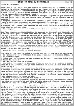 Chloé en forêt 02 - texte. Source : http://data.abuledu.org/URI/51c064d0-chloe-en-foret-02