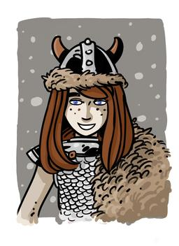 Chloé en viking. Source : http://data.abuledu.org/URI/572af413-chloe-en-viking