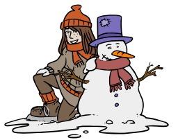 Chloé et le bonhomme de neige. Source : http://data.abuledu.org/URI/5624e67e-chloe-et-le-bonhomme-de-neige