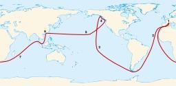 Circumnavigation d'Étienne Marchand en 1790. Source : http://data.abuledu.org/URI/554e416c-circumnavigation-d-etienne-marchand-en-1790