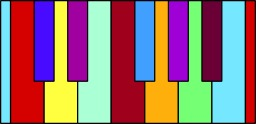 Clavier de piano en couleur. Source : http://data.abuledu.org/URI/50c4a7ce-clavier-de-piano-en-couleur