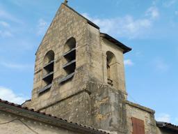 Clocher de l'église de Pujols-sur-Ciron. Source : http://data.abuledu.org/URI/58dae360-clocher-de-l-eglise-de-pujols-sur-ciron
