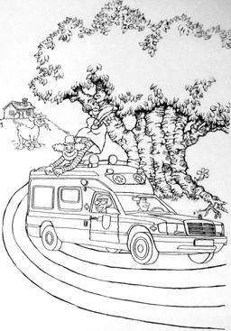 Clown sur une ambulance. Source : http://data.abuledu.org/URI/5347ee93-clown-sur-une-ambulance