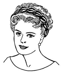 Coiffure féminine avec bandeau. Source : http://data.abuledu.org/URI/53ebafce-coiffure-feminine-avec-bandeau