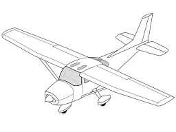 Coloriage d'avion. Source : http://data.abuledu.org/URI/52b72388-coloriage-d-avion