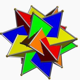 Composé polyédrique de cinq tétraèdres. Source : http://data.abuledu.org/URI/52f564f5-compose-polyedrique-de-cinq-tetraedres