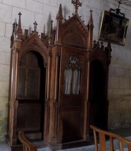 Confessionnal dans l'église de Saint-Macaire-33. Source : http://data.abuledu.org/URI/599a9ca3-confessionnal-dans-l-eglise-de-saint-macaire-33