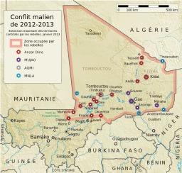 Conflit malien en 2013. Source : http://data.abuledu.org/URI/52d29166-conflit-malien-en-2013