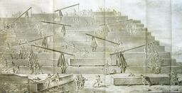 Construction d'une pyramide, d'après Hérodote. Source : http://data.abuledu.org/URI/50aea448-construction-d-une-pyramide-d-apres-herodote
