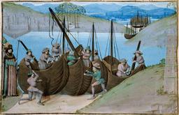 Construction de navires au Moyen Age. Source : http://data.abuledu.org/URI/51c21cab-construction-de-navires-au-moyen-age