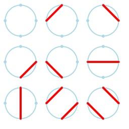 Cordes de Motzkin entre quatre points sur un cercle. Source : http://data.abuledu.org/URI/52f2b78d-cordes-de-motzkin-entre-quatre-points-sur-un-cercle