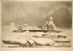 Corvettes dans la banquise en 1838. Source : http://data.abuledu.org/URI/598041ee-corvettes-dans-la-banquise-en-1838