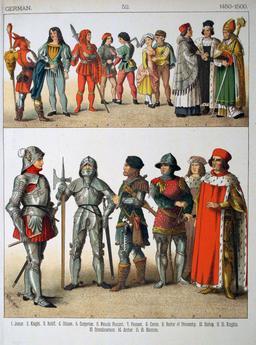 Costumes allemands de la fin du quinzième siècle. Source : http://data.abuledu.org/URI/5307dc96-costumes-allemands-de-la-fin-du-quinzieme-siecle