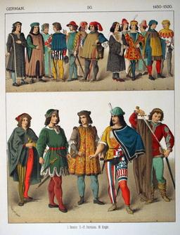 Costumes allemands de la fin du quinzième siècle. Source : http://data.abuledu.org/URI/5307dd9b-costumes-allemands-de-la-fin-du-quinzieme-siecle