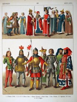 Costumes allemands du début du quinzième siècle. Source : http://data.abuledu.org/URI/5307bd75-costumes-allemands-du-debut-du-quinzieme-siecle