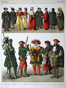 Costumes allemands du début du seizième siècle. Source : http://data.abuledu.org/URI/530895ee-costumes-allemands-du-debut-du-seizieme-siecle