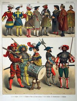 Costumes allemands du début du seizième siècle. Source : http://data.abuledu.org/URI/5308a291-costumes-allemands-du-debut-du-seizieme-siecle