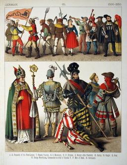 Costumes allemands du début du seizième siècle. Source : http://data.abuledu.org/URI/5308cc88-costumes-allemands-du-debut-du-seizieme-siecle