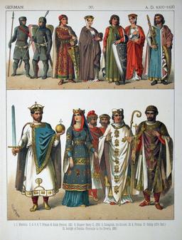 Costumes allemands du onzième siècle. Source : http://data.abuledu.org/URI/530b10fb-costumes-allemands-du-onzieme-siecle