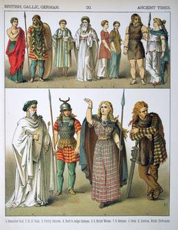 Costumes anciens britanniques, gaulois et germains. Source : http://data.abuledu.org/URI/530b32c9-costumes-anciens-britanniques-gaulois-et-germains