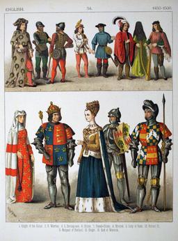 Costumes anglais de la fin du quinzième siècle. Source : http://data.abuledu.org/URI/5307bf20-costumes-anglais-de-la-fin-du-quinzieme-siecle