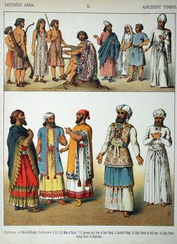 Costumes antiques du Proche-Orient. Source : http://data.abuledu.org/URI/530b4fc3-costumes-antiques-du-proche-orient