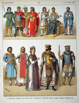 Costumes byzantins du huitième au dixième siècle. Source : http://data.abuledu.org/URI/530b25e4-costumes-byzantins-du-huitieme-au-dixieme-siecle