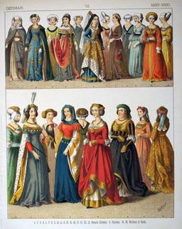 Costumes d'allemandes à la fin du quinzième siècle. Source : http://data.abuledu.org/URI/5307de8f-costumes-d-allemandes-a-la-fin-du-quinzieme-siecle