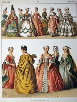 Costumes d'aristocrates françaises du début du dix-huitième siècle. Source : http://data.abuledu.org/URI/530a59d8-costumes-d-aristocrates-francaises-du-debut-du-dix-huitieme-siecle