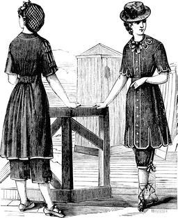 Costumes de bain féminins en 1883. Source : http://data.abuledu.org/URI/51fa8ff7-costumes-de-bain-feminins-en-1883