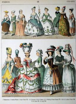 Costumes de françaises de la fin du dix-huitième siècle. Source : http://data.abuledu.org/URI/530a5a94-costumes-de-francaises-de-la-fin-du-dix-huitieme-siecle