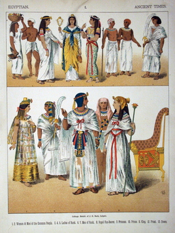Costumes de l'antiquité égyptienne. Source : http://data.abuledu.org/URI/530b38a1-costumes-de-l-antiquite-egyptienne