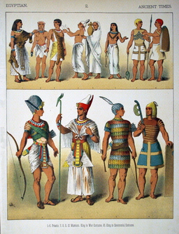 Costumes de l'antiquité égyptienne. Source : http://data.abuledu.org/URI/530b39fc-costumes-de-l-antiquite-egyptienne