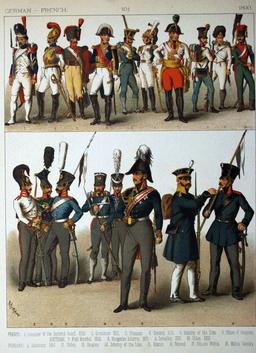 Costumes de l'armée française et allemande du dix-neuvième siècle. Source : http://data.abuledu.org/URI/530af7c2-costumes-de-l-armee-francaise-et-allemande-du-dix-neuvieme-siecle