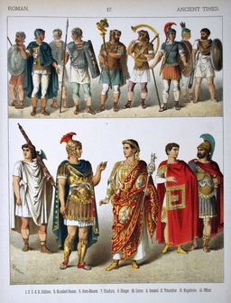 Costumes de l'armée romaine dans l'antiquité. Source : http://data.abuledu.org/URI/530b7f1f-costumes-de-l-armee-romaine-dans-l-antiquite