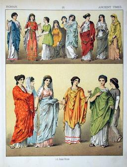 Costumes de romaines dans l'antiquité. Source : http://data.abuledu.org/URI/530b7fe5-costumes-de-romaines-dans-l-antiquite