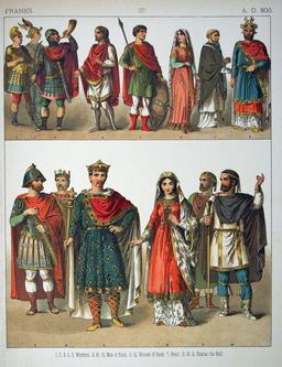 Costumes des Francs au neuvième siècle. Source : http://data.abuledu.org/URI/530b239a-costumes-des-francs-au-neuvieme-siecle