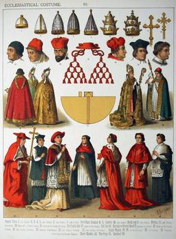 Costumes ecclésiastiques au Moyen Age. Source : http://data.abuledu.org/URI/530b81b7-costumes-ecclesiastiques-au-moyen-age