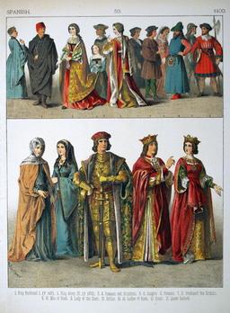 Costumes espagnols du quinzième siècle. Source : http://data.abuledu.org/URI/5307b54c-costumes-espagnols-du-quinzieme-siecle