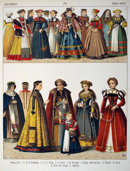 Costumes féminins allemands de la fin du seizième siècle. Source : http://data.abuledu.org/URI/5308fd09-costumes-feminins-allemands-de-la-fin-du-seizieme-siecle