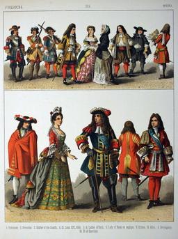Costumes français de la fin du dix-septième siècle. Source : http://data.abuledu.org/URI/5309f534-costumes-francais-de-la-fin-du-dix-septieme-siecle