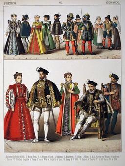 Costumes français de la fin du seizième siècle. Source : http://data.abuledu.org/URI/5308ee21-costumes-francais-de-la-fin-du-seizieme-siecle