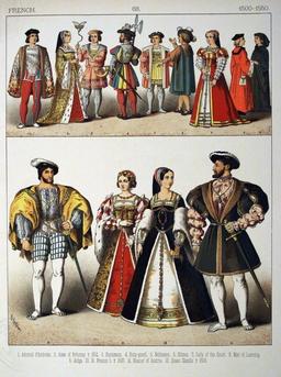 Costumes français du début du Seizième siècle. Source : http://data.abuledu.org/URI/530893ab-costumes-francais-du-debut-du-seizieme-siecle